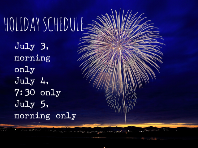 Conditioning Day and the Holiday Schedule